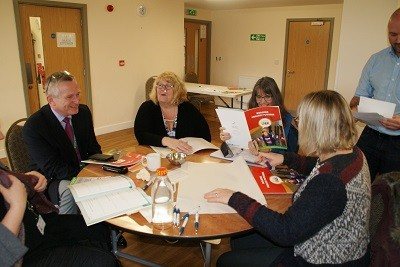 Photo showing professionals attending the launch trying out the Primary TALK Toolkit